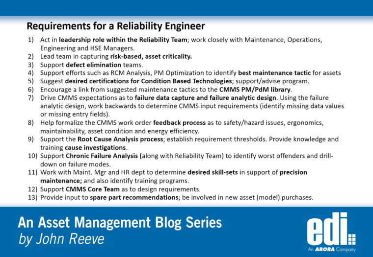 13 Actions for a Reliability Engineer